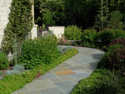 mortared bluestone walkway